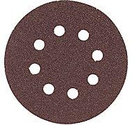Bosch SR5R320 Random Orbit Sander Hook and Loop 8 Hole Disc 5-Inch 320 Grit Sand Paper, Red, 5-Pack