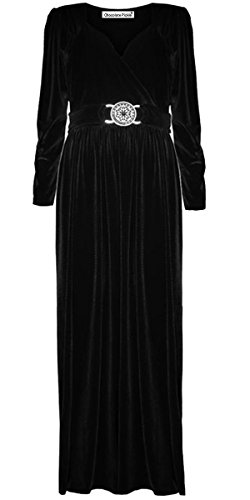 New Womens Plus Size Buckle Belted Long Sleeve Velvet Maxi Dress