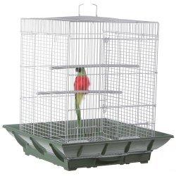 Prevue Cockatiel Clean Life Cage System White/White 18x18x24