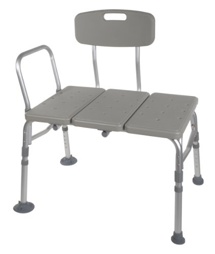 Drive Medical Plastic Transfer Bench with 3 Position Backrest, Gray (Bench Shower compare prices)