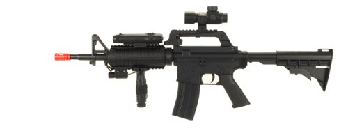 M16-A4 Airsoft Rifle with LED illuminator, laser sight & adjustable gun stock