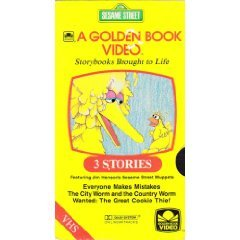 Sesame Street 3 Stories (A Golden Book Video) Everyone Makes Mistakes, the City Worm and the Country Worm, Wanted: The Great Cookie Thief