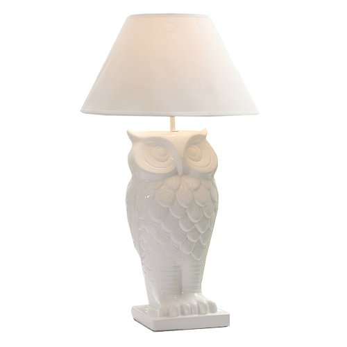 White Dolomite Owl Table Lamp With Shade front-911634