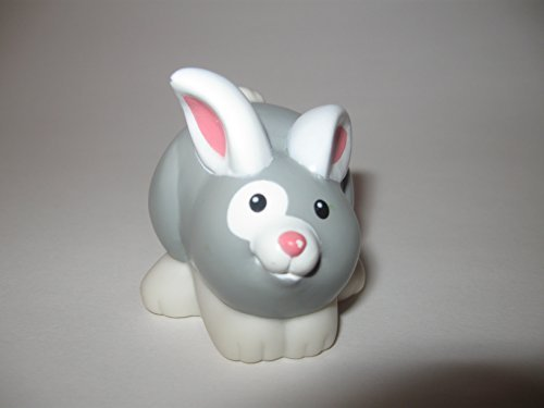 Fisher Price Little People Farm Animals, Replacement Rabbit, Gray and White Bunny, Farm, Hutch, Easter, Pets, Petting Zoo Animals OOP 2001 - 1