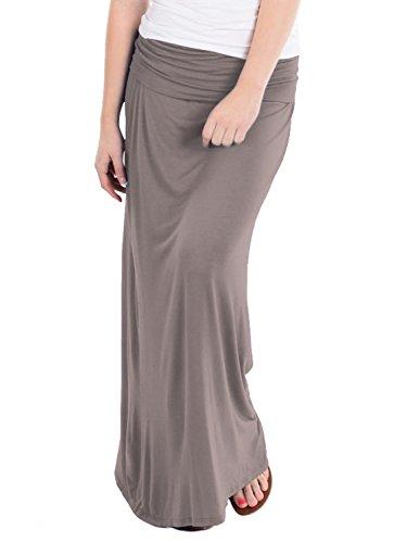 Women's Maxi Skirt W/ Fold Over Waist Band KSK3097 Taupe 2X