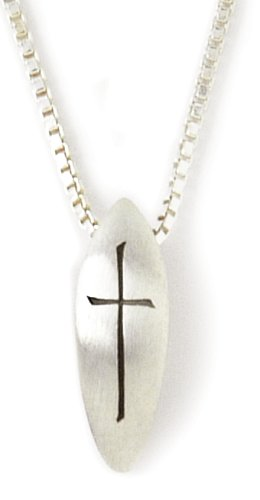 Sterling Silver Cross and Leaf Pendant 18 Inch