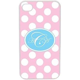 Pink Polka Dot Pattern iPhone 4 4S Custom Fancy Script Font Case Cover