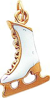 14K Gold Solid 3Dimensional Enameled Ice Skate Charm