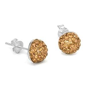 Shamballa Ball Sterling Silver Half Crystal Gold Earrings