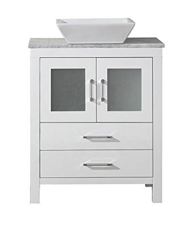 Virtu USA Dior 24 Single Bath Vanity Cabinet, White/White Marble