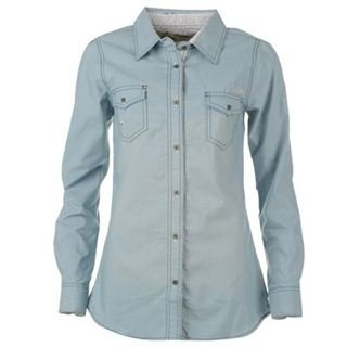 Lee Cooper Boyfriend Denim Shirt Ladies Wash