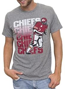 NFL Kansas City Chiefs Mens Vintage Inspired Triblend T-shirt Grey by Junk Food