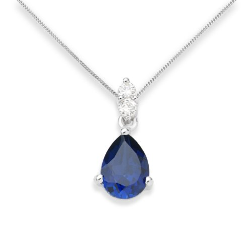 Sapphire Necklace, 9ct White Gold, Diamond and