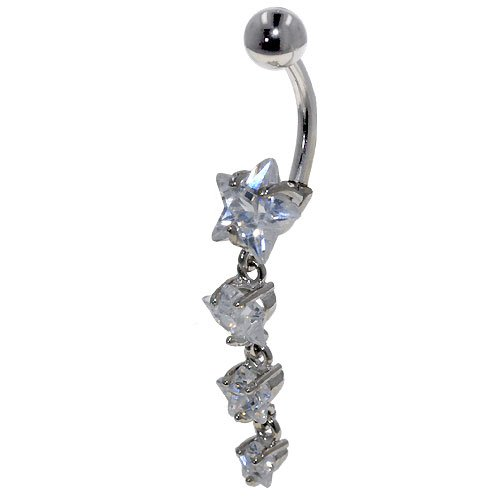 Belly Button Rings Clear Cz Stars Dangle Beaded Bangle Bracelets Belly Navel Ring Body Jewelry