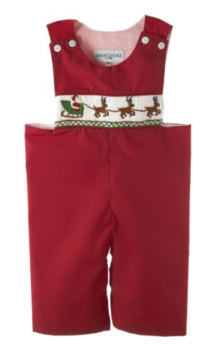 Santa and Reindeer Hand Smocked Christmas Brother Longalls