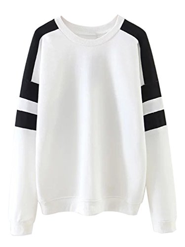Clothink Women White Color Block Crew Neck Long Sleeves Loose Sweatshirt L
