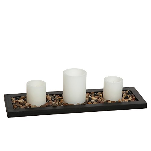 Hosley's Flameless LED Candle Gift Set - Set of 3 Pillar Candles, Decorative Pebbles and Wood Tray. Ideal Gift for Home Office, Wedding, Party, Family Room, Spa, Aromatherapy Candle Gardens