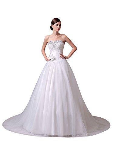 75e0358d465 Vinvv Strapless Beaded Flower Long Ball Gown Wedding Dress Corset Back  White Size 2