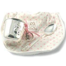 Trousseau Feeding Cup And Bib Set - Pink