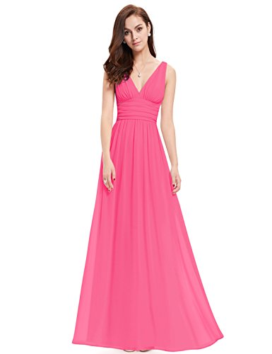 Ever Pretty Womens Elegant Empire Waist Double V Neck Maxi Dress 4 US Hot Pink (Hot Pink Maxi Dress compare prices)