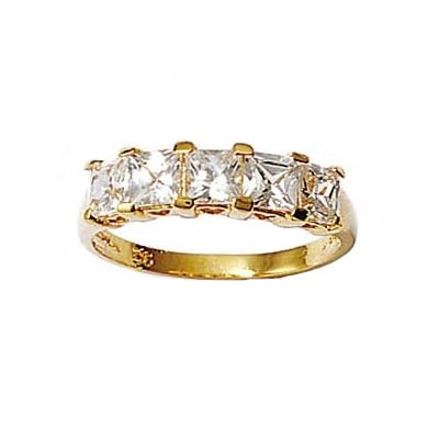 Ladies 18K Gold Plated Clear Cubic Zirconia 5 mm Wide Eternity Ring