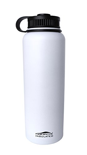 Aquatix Insulated White Sport Water Bottle Double Wall Insulation 41 Ounce Twist Off (Large Sports Bottle compare prices)