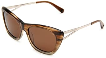 Rebecca Minkoff Waverly Cat Eye Sunglasses,Blue Brown & Silver Frame/Green Lens,One Size