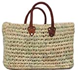 "Hand Woven Large Moroccan Straw Bag w/ Brown Leather Handles 19""Lx8""Wx13""H"
