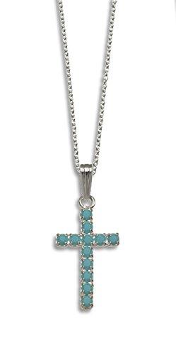 Lj Designs 187. Turquoise Cross Pendant - Swarovski Crystal - Christian Gifts - Christian Present - Religious Present