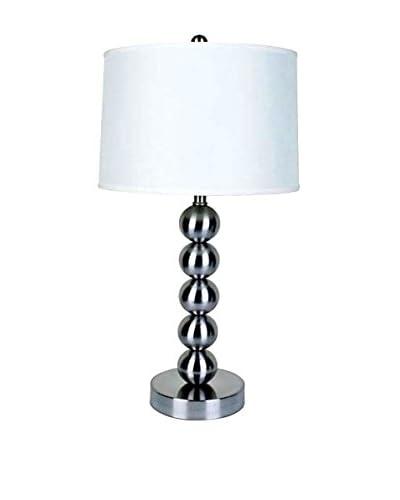 ORE International Metal Ball Table Lamp, Satin Nickel
