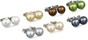 Set of 7 Freshwater Cultured Button Pearl Cool Tones Studs with Sterling Silver Posts and Backs (7-7.5mm)