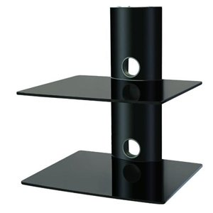 Designer Habitat - 2X Black Floating Shelf With Strengthened Tempered Glass For Dvd Players/Cable Boxes/Games Consoles/Tv Accessories