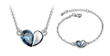 18K Gold Plated Heart Pendant Necklance and Bracelet set