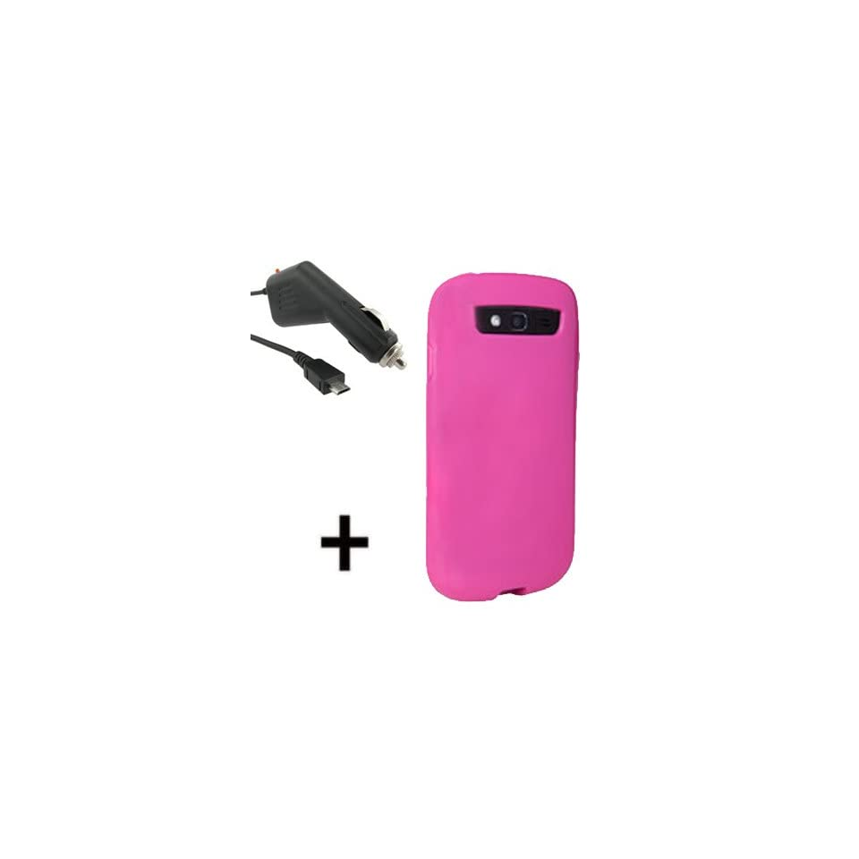 T Mobile OEM D3O Sleeve Gel Cover Skin Case for T Mobile Samsung Galaxy S Blaze 4G T999+ Car Charger Pink