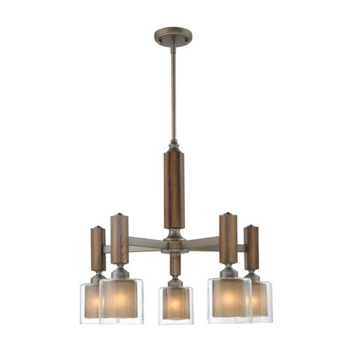B006O8749C Golden Lighting 5010D5MW  Chandelier with Amber-Touched Glass Shades,  Mahogany Steel Wash Finish