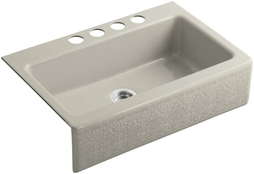 KOHLER K-14579-KG-G9 Alencon Lace Design on Dickinson Undercounter Kitchen Sink, Sandbar