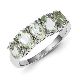 Genuine IceCarats Designer Jewelry Gift Sterling Silver Rhodium 5 Pear Green Quartz & Diamond Ring Size 7.00