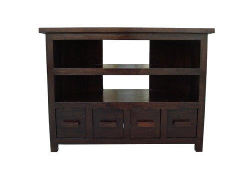 Homescapes Mangat Tall Corner TV Unit ,100% Mango Wood Furniture, Walnut Shade. 100x60x75 cm Ideal for Games