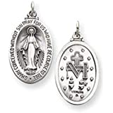 PriceRock Sterling Silver Antiqued Miraculous Medal