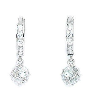 14ct White Gold CZ Ball Drop Hinged Earrings - Measures 20x6mm