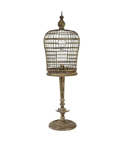 Metal Birdcage Table Lamp, Brown