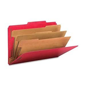 "3"""" Expansion Folders with 2/5 Cut Tab Legal EightSection Bright Red 10/Box"