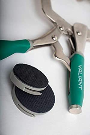 Woodworking 3 Metal Face Clamps | With A Set Of Round Pads, Heavy Duty C-Type Clamping Tools For Cabinetry, Larger Flat Surface | Round Pads for Protective Padding, and better Grip (1 Clamp With Pads (Color: green / Grey, Tamaño: 1 Clamp With Pads)