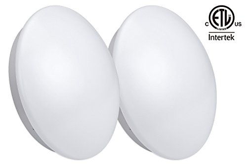 Dimmable 12-Inch LED Flush Mount Ceiling Light, 16W (86W Fluorescent Equivalent), 5000K Daylight, 120V, ETL-listed Ceiling Light Fixture, 3 YEARS WARRANTY, 2 pack (Led Flush Mount Light compare prices)