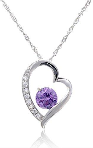 Fashion Women Silver Heart Pendant White Purple Amethyst Zircon Cystal Necklace with Gift Box (Purple)