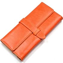 KLOUD City® Orange synthetic leather women walle with a strap closure