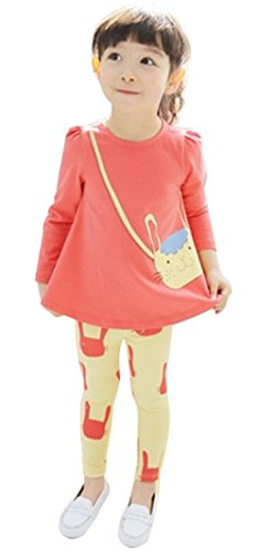 Upopby Cute Baby Girls Clothes Pants Sets Cartoon 2pcs Top and Legging Outfits Red 100 (Cutest Baby Girl Clothes compare prices)