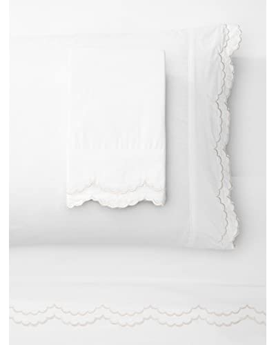 Mélange Home Egyptian Cotton Double Scalloped Embroidery Sheet Set