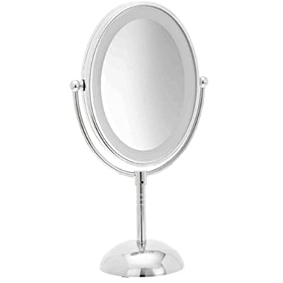 Double-Sided Lighted Makeup Mirror - Lighted Vanity Makeup Mirror with LED Lights; 1x/7x magnification;