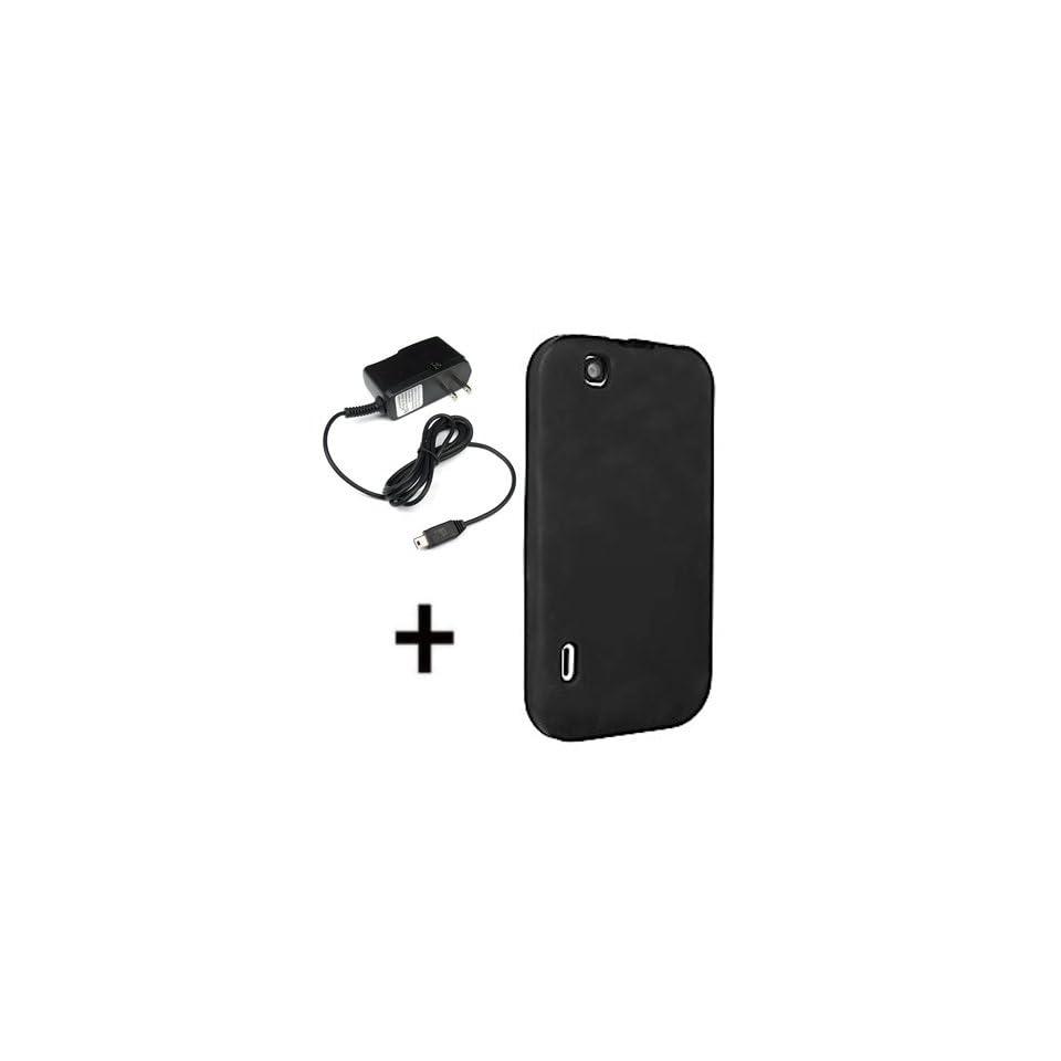 T Mobile OEM Sleeve Gel Cover Skin Case for T Mobile LG T Mobile myTouch + Travel Charger Black